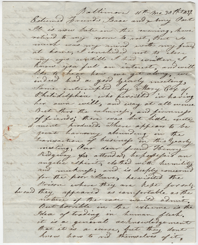Underwood, Sarah. Letter to Isaac Post.