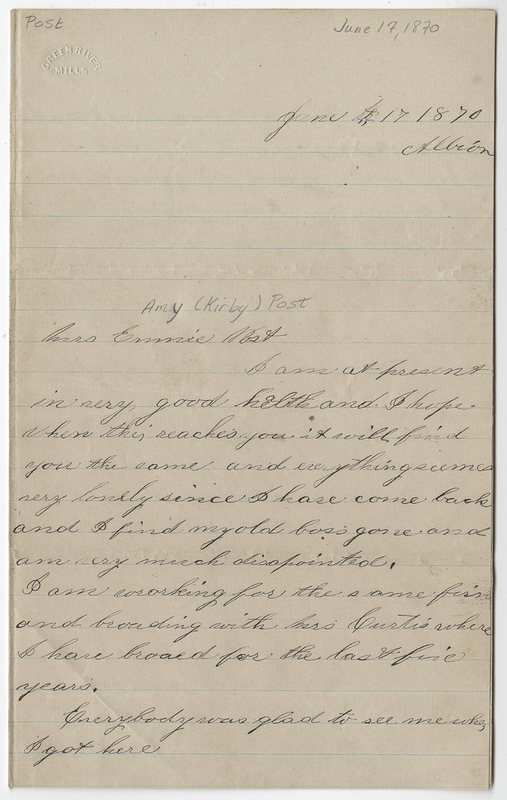 Carter, Jacob C. Letter to Amy Kirby Post.