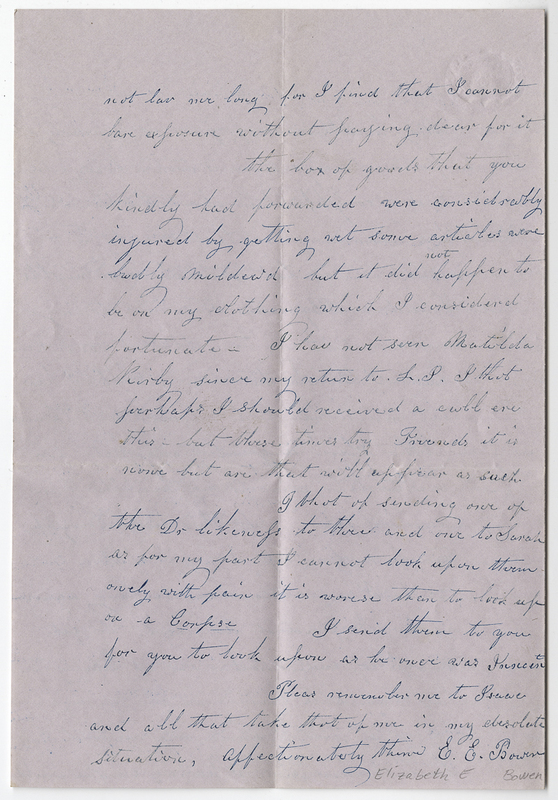 Bowen, Elizabeth E. Letter to Amy Kirby Post.