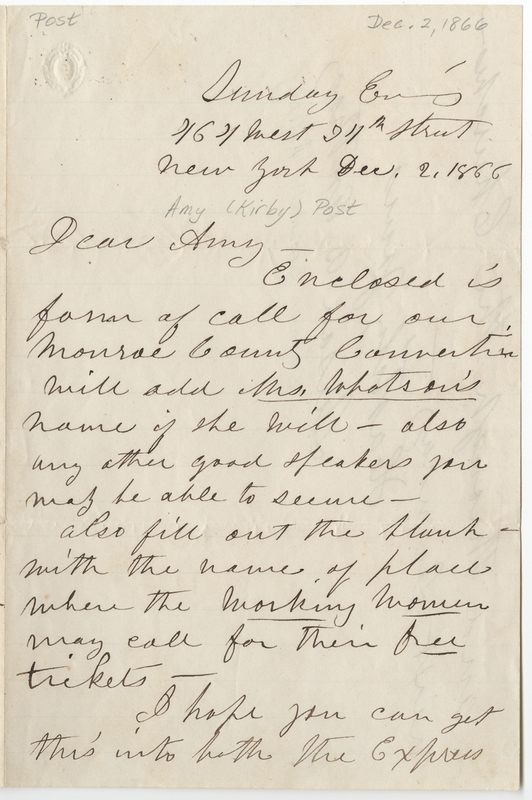 Letter from Susan B. Anthony to Amy Post (December 2, 1866)