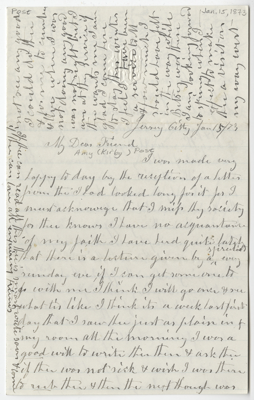 Baker, Isaac. Letter to Amy Kirby Post.