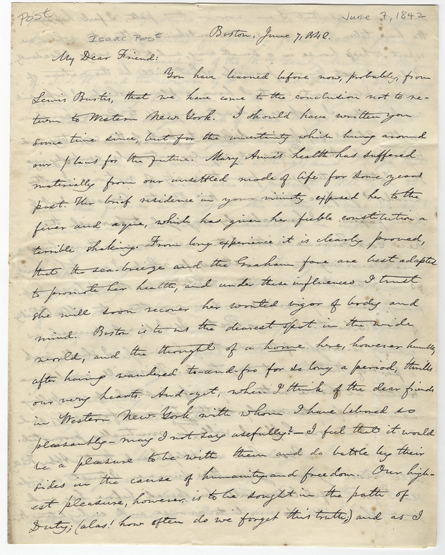 Johnson, Oliver. Letter to Isaac Post.