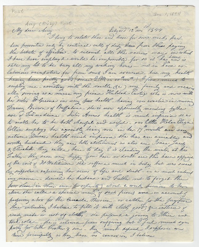 Thayer, Sarah E. Letter to Amy Kirby Post.