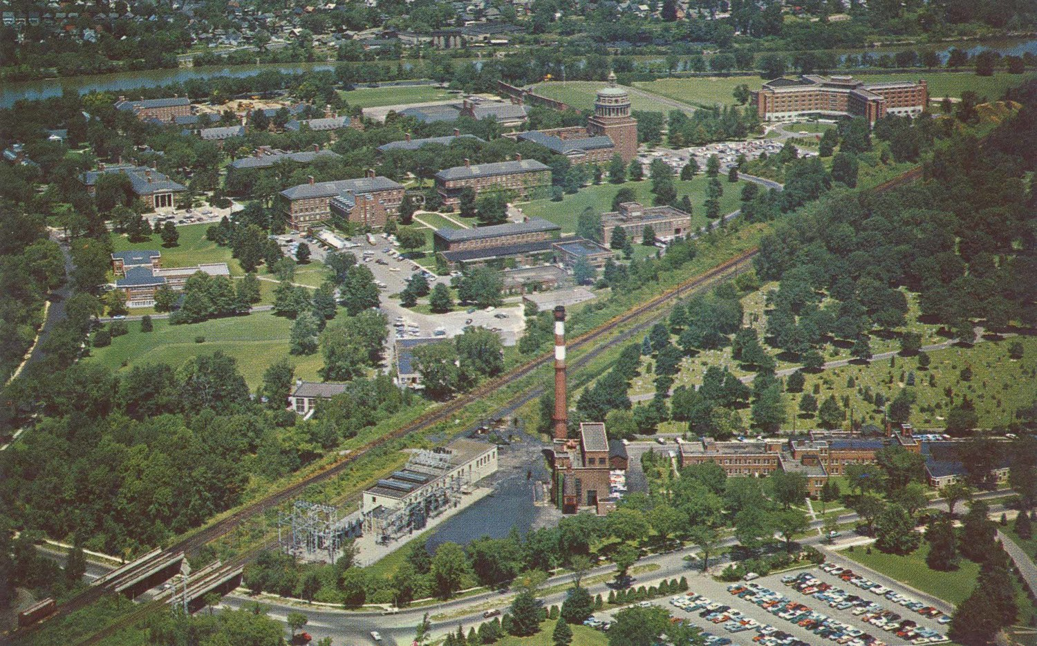 Aerial View of the University of Rochester Campus.