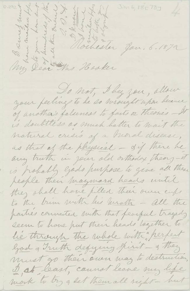 Letter from Susan B. Anthony to Isabella Beecher Hooker, January 6, 1873<br />