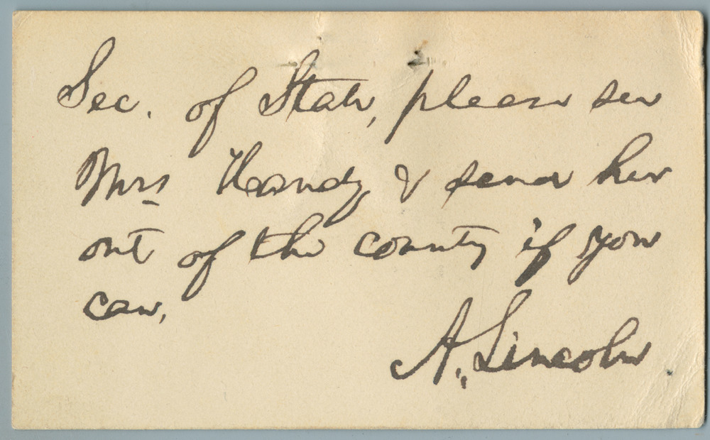 Note from Abraham Lincoln to William Henry Seward
