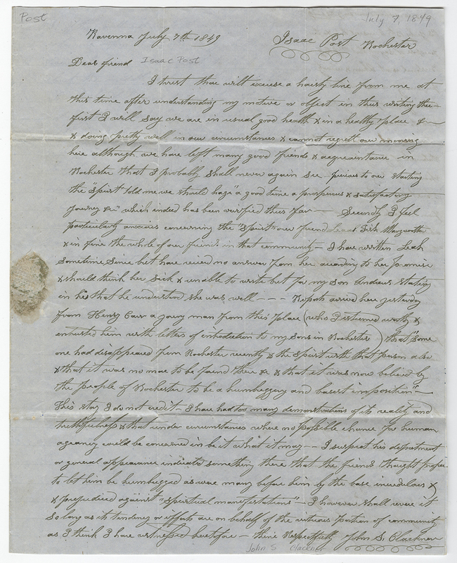 Clackner, John S. Letter to Isaac Post.