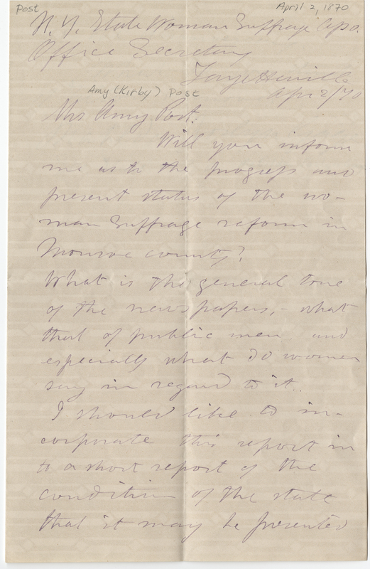 Gage, Matilda Joslyn. Letter to Amy Kirby Post.