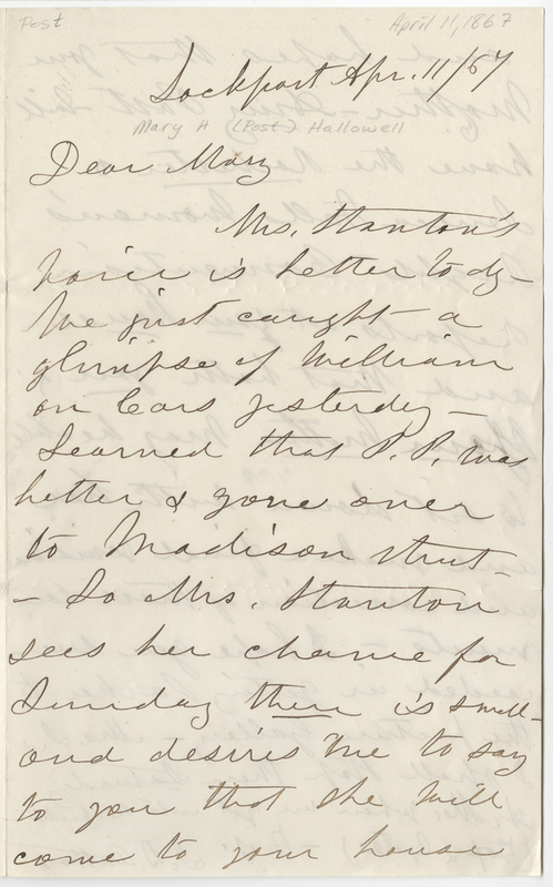 Anthony, Susan Brownell. Letter to Mary Post Hallowell.