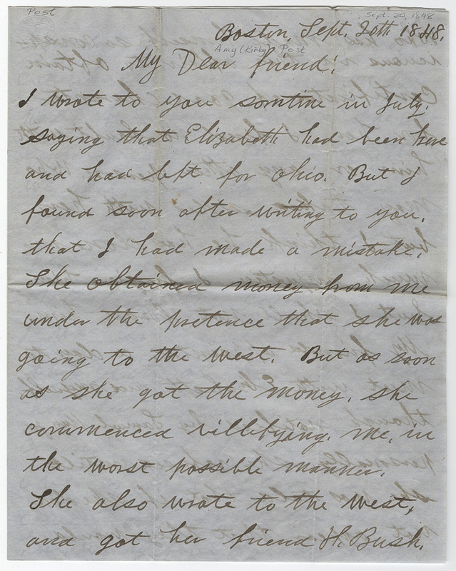 Brown William Wells. Letter to Amy Kirby Post.
