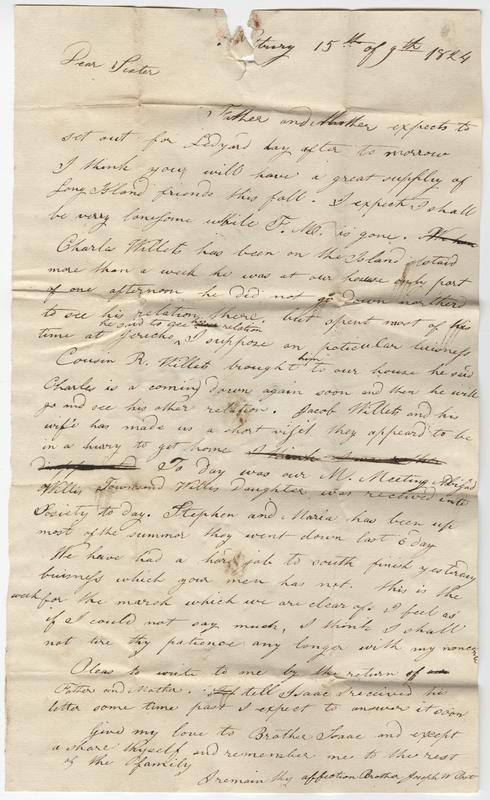 Post, Joseph W. Letter to Hannah Post.