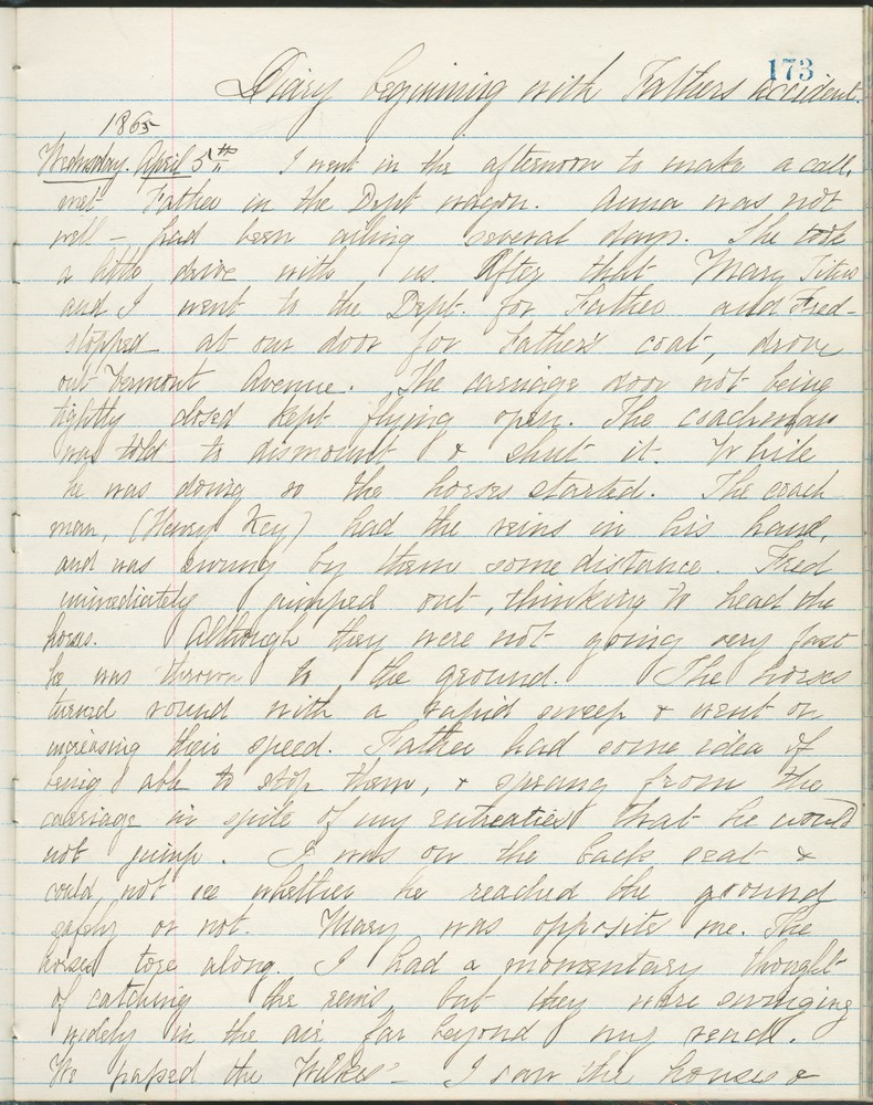 Diary entry from Fanny Seward, April 5, 1865