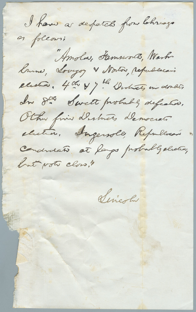 Note from Abraham Lincoln to William Henry Seward, November 1862