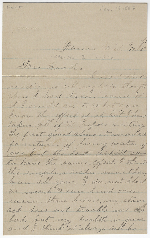 Farlin, E Jane. Letter to Charles D Farlin.