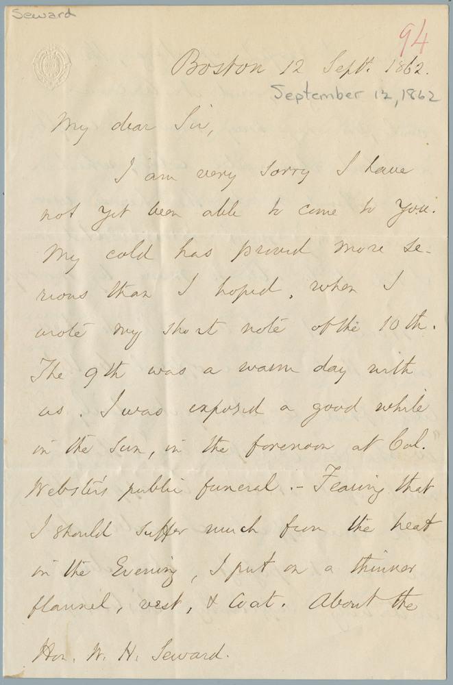 Letter from Edward Everett to William Henry Seward, September 12, 1862