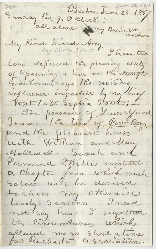 Nell, William Cooper. Letter to Amy Kirby Post.