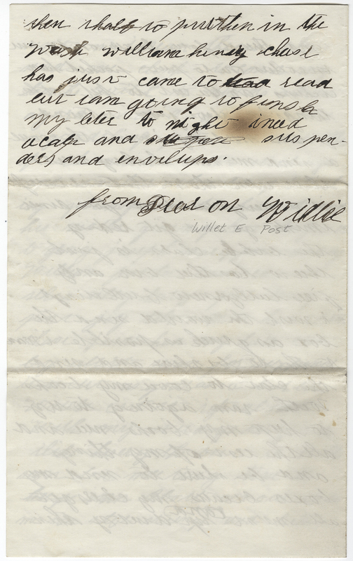 Post, Willet E. Letter to Amy Kirby Post.