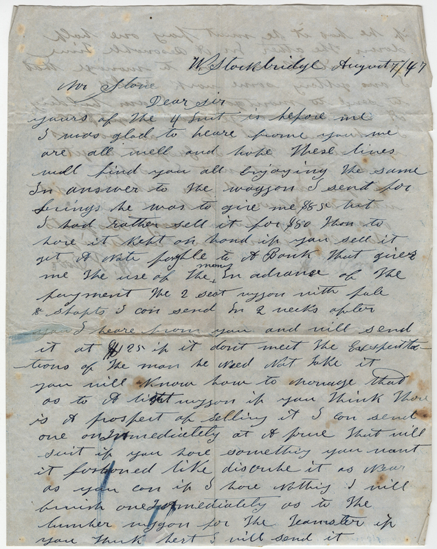 Dove, H.P. Letter to Horace Stone.
