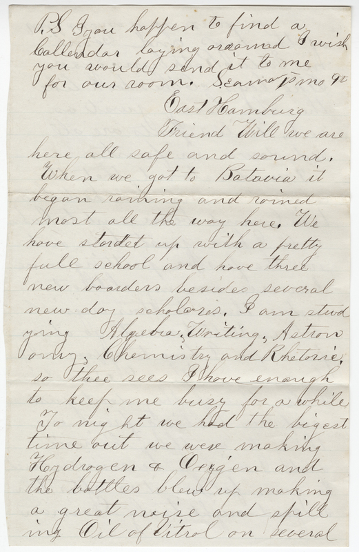 Unknown writer. Letter to Willet E. Post.