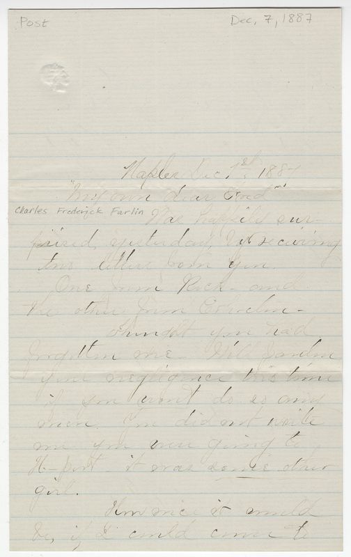 _____, Florence ?. Letter to Charles Frederick Farlin.