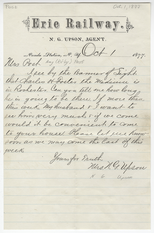 Upson, N G. Letter to Amy Kirby Post.