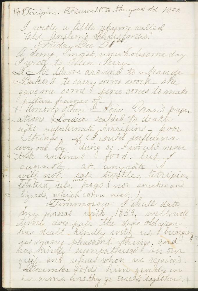 Diary entry from Fanny Seward, December 31, 1858