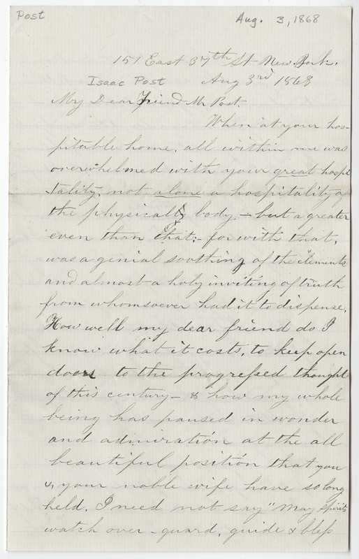 Andrews, Esther B. Letter to Isaac Post.