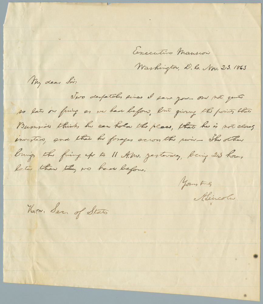 Note from Abraham Lincoln to William Henry Seward, November 23, 1863