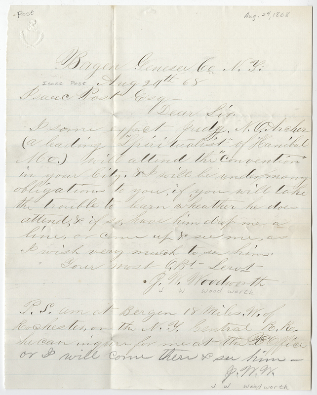 Woodworth, J W. Letter to Isaac Post.