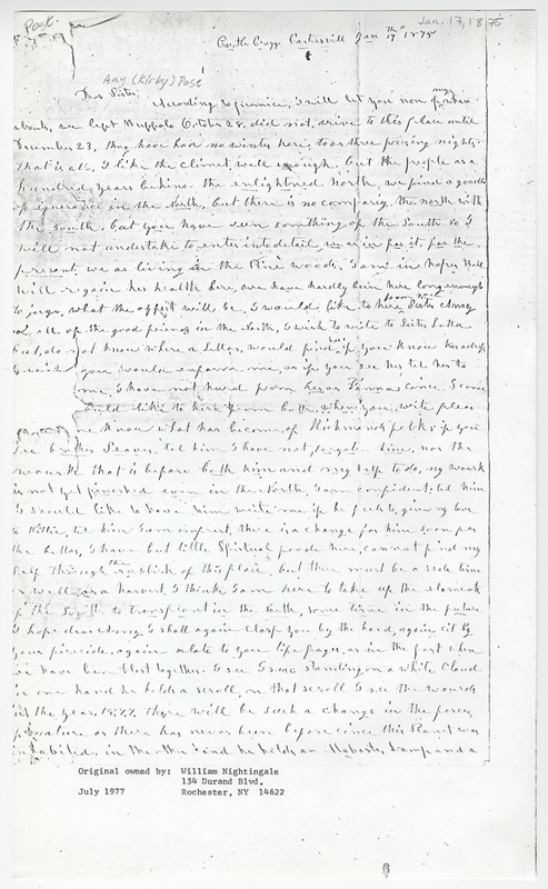 Hazen, C A. Letter to Amy Kirby Post.