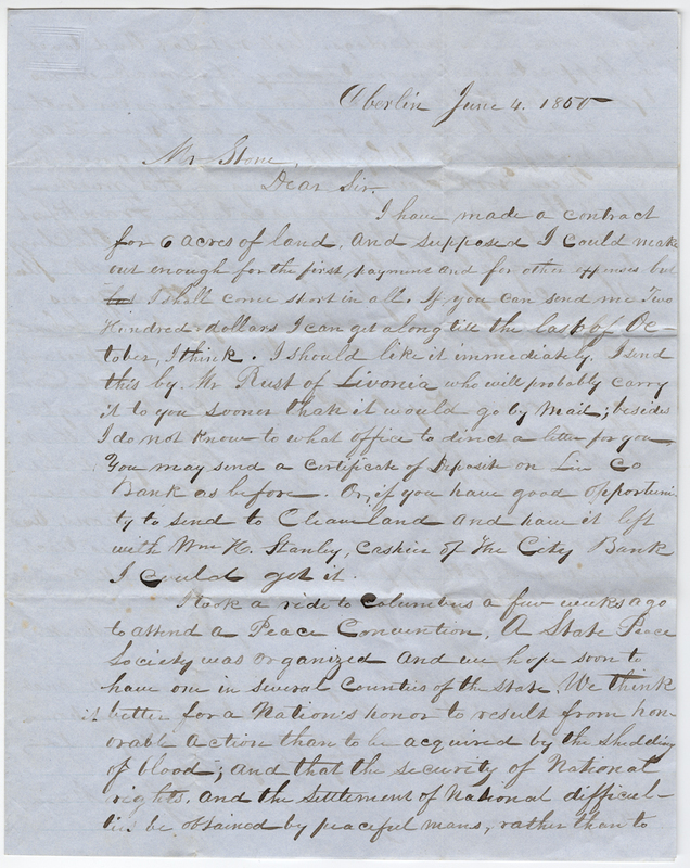 Mersill, J.W.? Letter to Horace Stone.