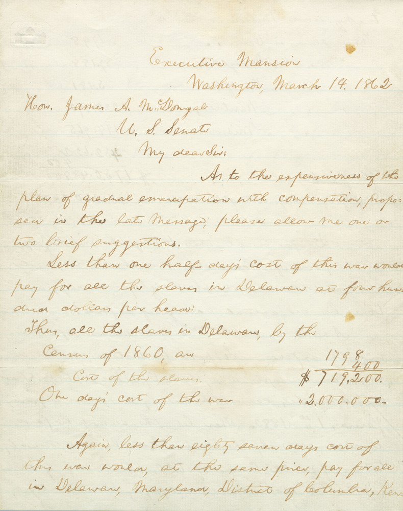 Letter from Abraham Lincoln to James A. McDougal, March 14, 1862