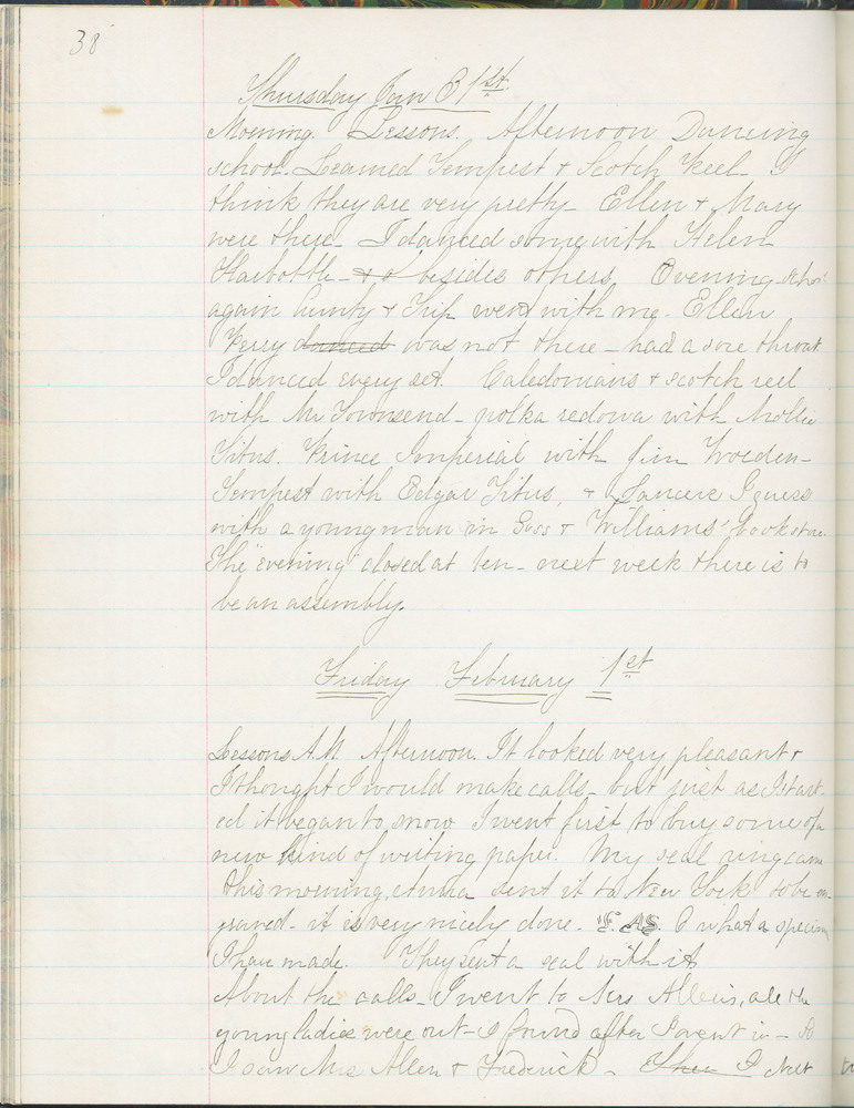 Diary entry from Fanny Seward, January 31, 1861