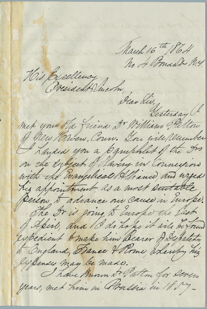 Letter from Joseph A. Wright to Abraham Lincoln, March 16, 1864