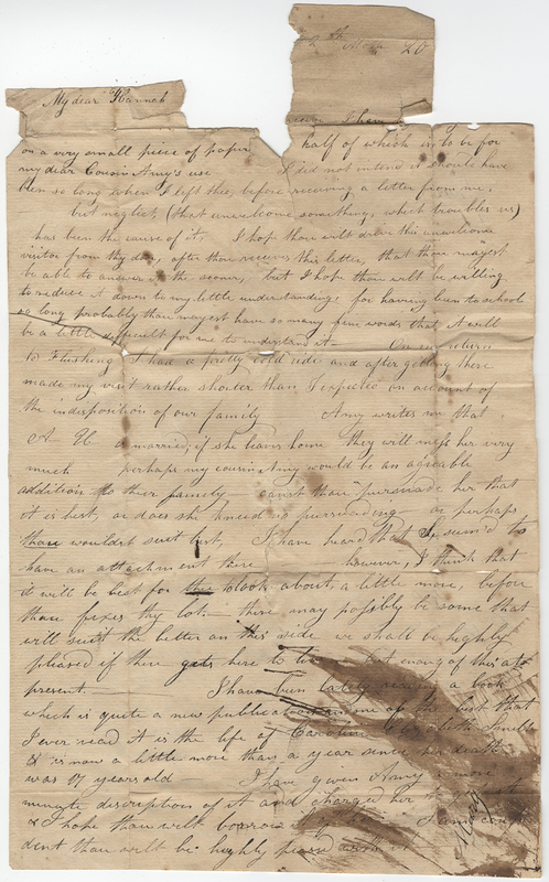 Unknown writer. Letter to Hannah Post.
