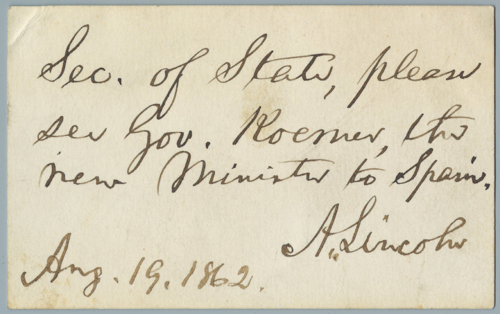 Note from Abraham Lincoln to William Henry Seward, August 19, 1862