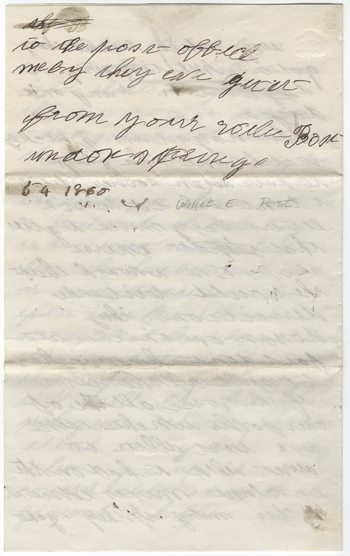 Post, Willet E. Letter to Mary H Post Hallowell.