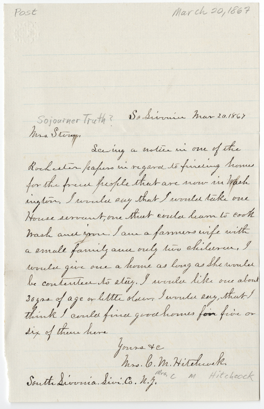 Hitchcock, Mrs C. M. Letter to [Sojourner Truth?].