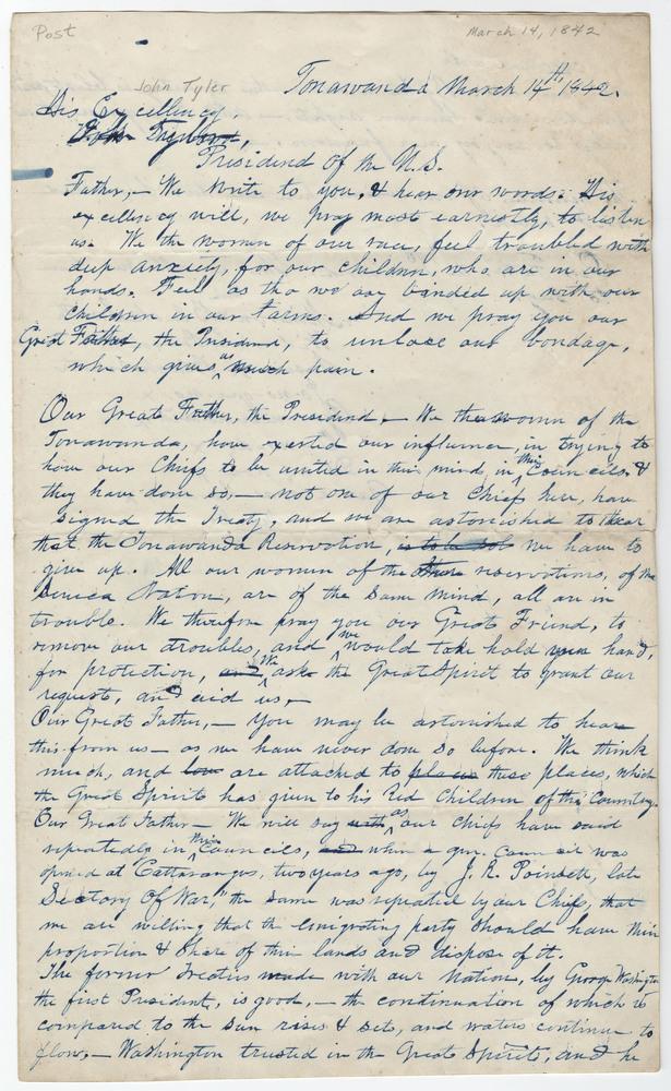 Women Of Tonawanda Reservation. Letter to John Tyler.