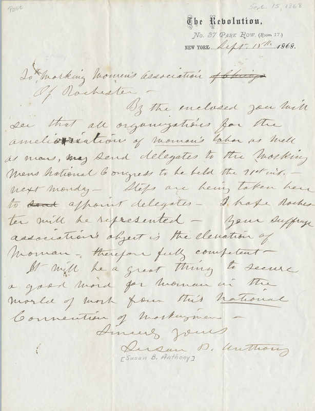 Letter from Susan B. Anthony to the Working Women's Association of Rochester, 1868