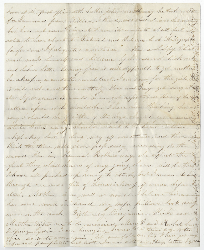 Willis, Sarah L Kirby Hallowell. Letter to Mary H Post Hallowell.
