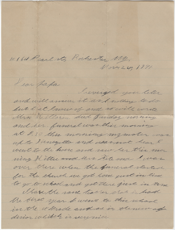 Post, Ruden. Letter to Willet E. Post.