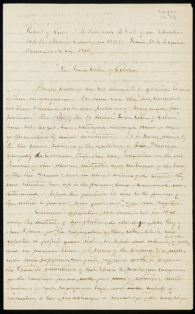 Morgan, Lewis Henry. Notes on the report of Lieut. J. H. Simpson, 1850