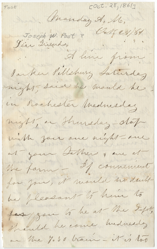 Anthony, Susan Brownell. Letter to [Joseph W Post?].