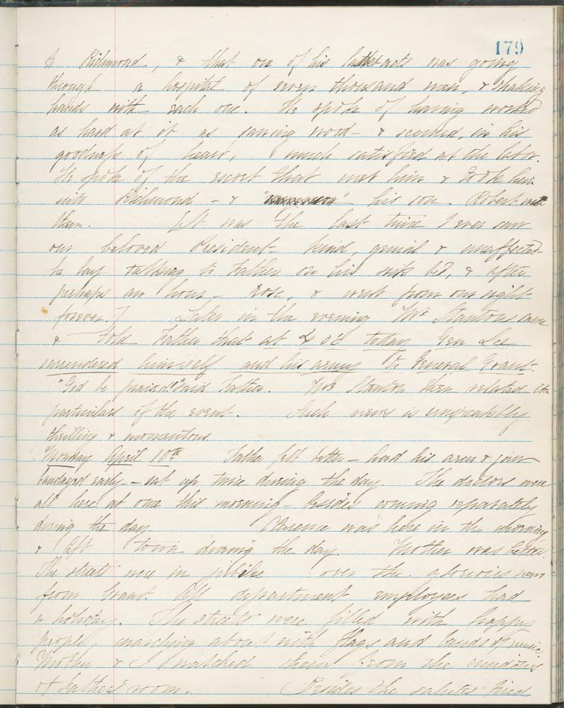 Diary entry from Fanny Seward, April 10, 1865