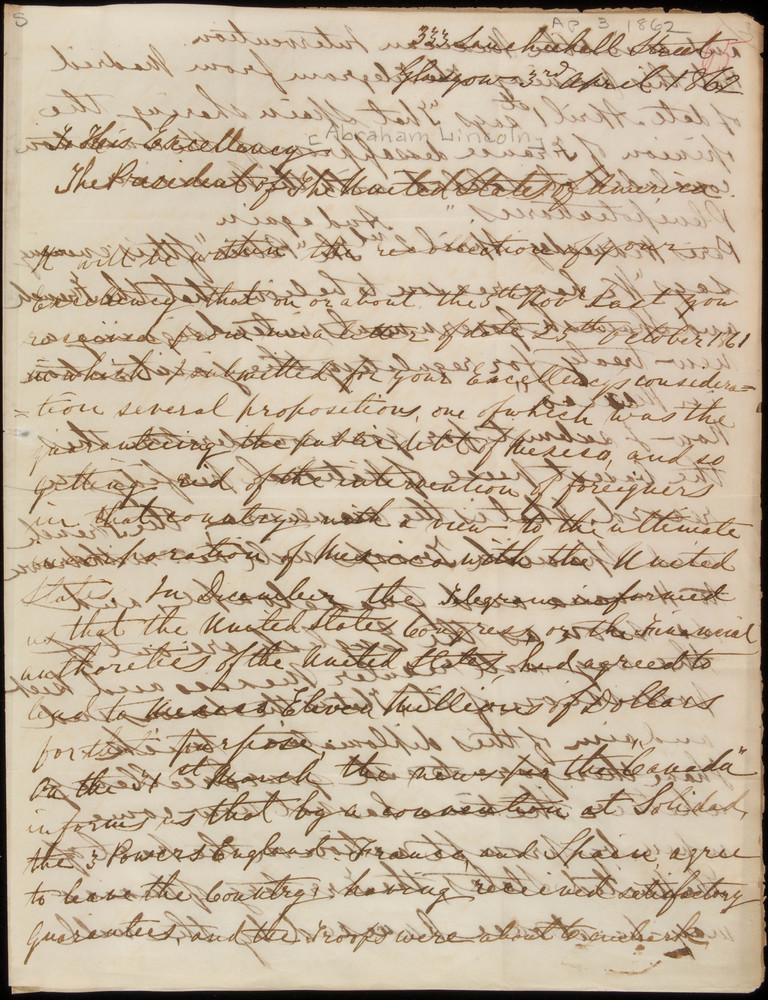 Letter from William McFarlane to Abraham Lincoln, April 3, 1862