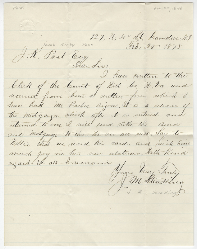 Stradling, J M. Letter to Jacob Kirby Post.