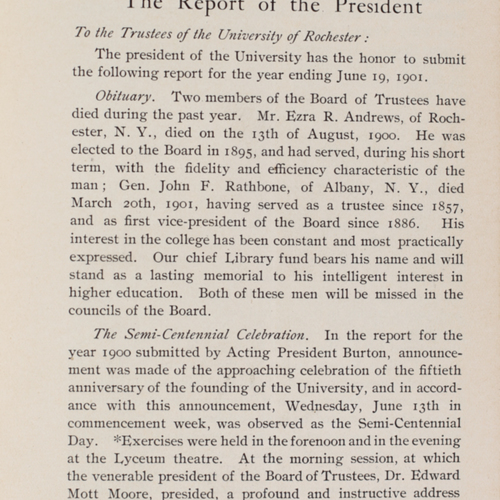 Annual Report of the President to the Board of Trustees, 1901