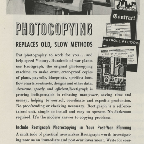 Step Up Vital War Production! Photocopying replaces old, slow methods