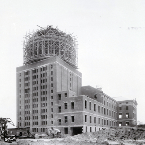 Rush Rhees Library: Construction (1930)